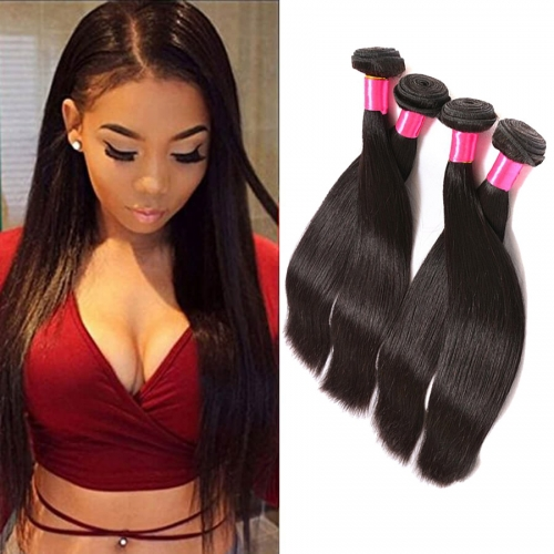 【Affordable 7A】8''-28'' 4 Bundles Silky Straight Indian Virgin Remy Human Hair Weft Natural Color