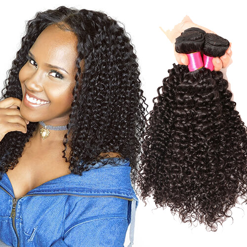 【Affordable 7A】8''-28'' 4 Bundles Kinky Curly Brazilian Virgin Remy Human Hair Weft Natural Color
