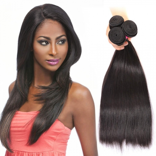 【Affordable 7A】8''-28'' 3 Bundles Brazilian Virgin Remy Human Hair Weft Silky Straight Natural Color