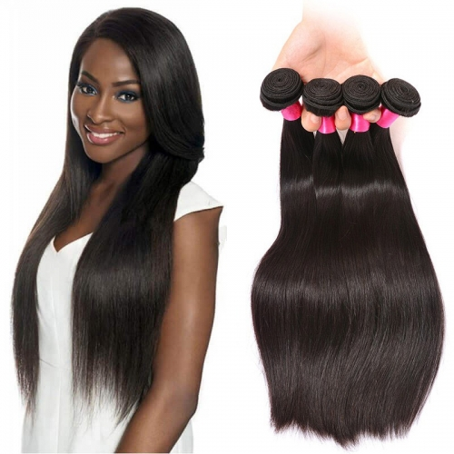 【Affordable 7A】8''-28'' 4 Bundles Silky Straight Brazilian Virgin Remy Human Hair Weft Natural Color