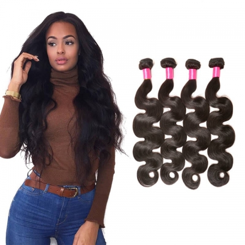 【Affordable 7A】8''-28'' 4 Bundles Body Wave Indian Virgin Remy Human Hair Weft Natural Color