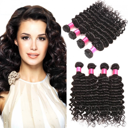 【Affordable 7A】8''-28'' 4 Bundles Deep Wave Brazilian Virgin Remy Human Hair Weft Natural Color