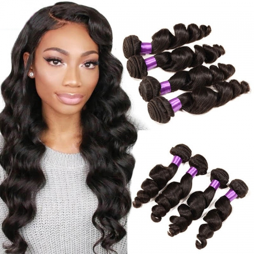 【Platinum 8A】8''-28'' 4 Bundles Loose Wave Malaysian Virgin Remy Human Hair Weft Natural Color