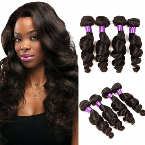 【Platinum 8A】8''-28'' 4 Bundles Loose Wave Indian Virgin Remy Human Hair Weft Natural Color