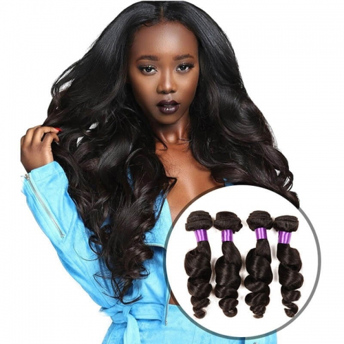 【Platinum 8A】8''-28'' 4 Bundles Loose Wave Brazilian Virgin Remy Human Hair Weft Natural Color