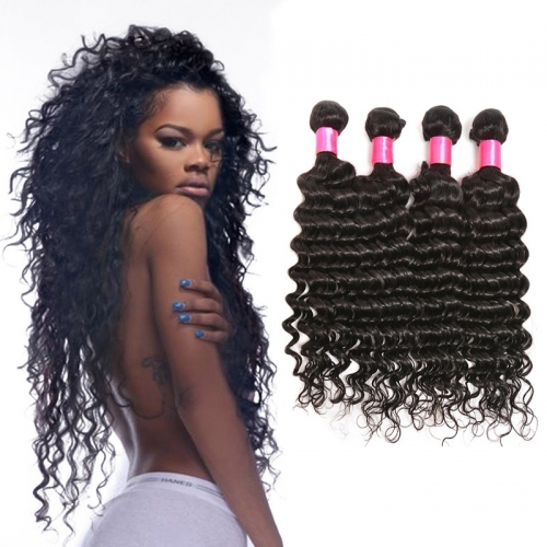 【Platinum 8A】8''-28'' 4 Bundles Deep Wave Malaysian Virgin Remy Human Hair Weft Natural Color