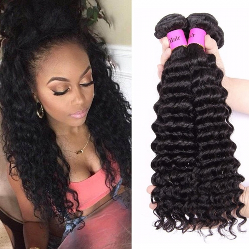 【Platinum 8A】8''-28'' 4 Bundles Deep Wave Indian Virgin Remy Human Hair Weft Natural Color