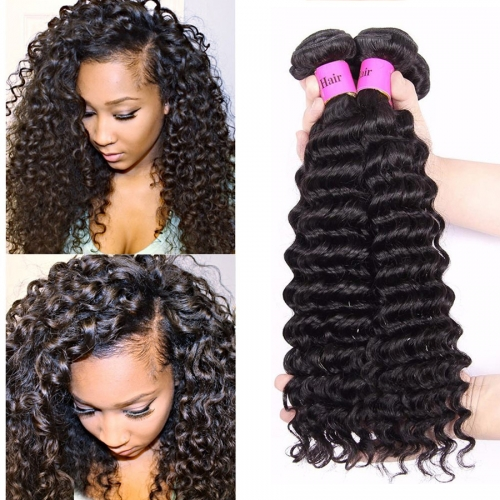 【Platinum 8A】8''-28'' 4 Bundles Deep Wave Brazilian Virgin Remy Human Hair Weft Natural Color
