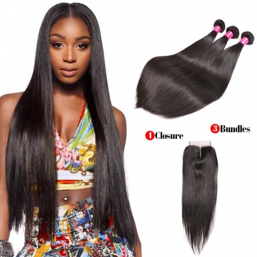 【Affordable 7A】3 Bundles Brazilian Silky Straight Virgin Remy Human Hair Weft with Lace Closure