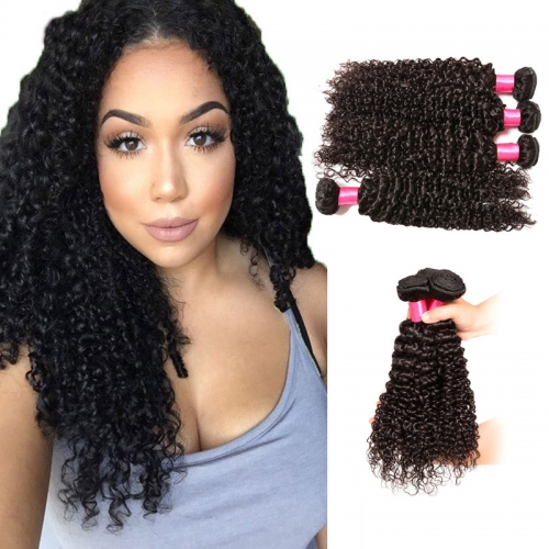 【Platinum 8A】8''-28'' 4 Bundles Kinky Curly Indian Virgin Remy Human Hair Weft Natural Color