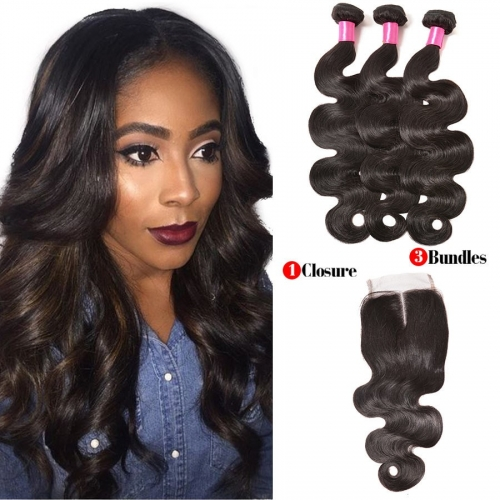 【Affordable 7A】3 Bundles Brazilian Body Wave Virgin Remy Human Hair Weft with Lace Closure