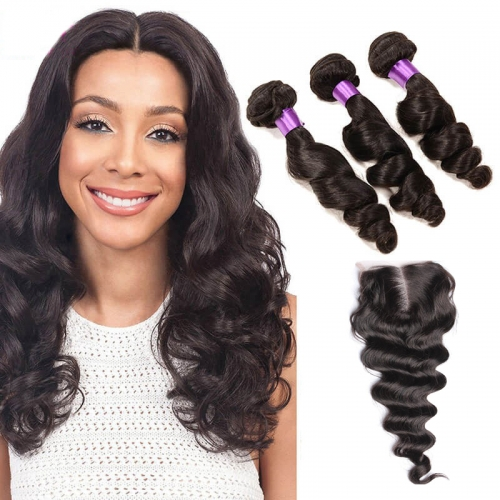 【Affordable 7A】3 Bundles Brazilian Loose Wave Virgin Remy Human Hair Weft with Lace Closure