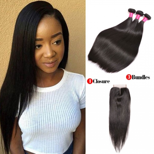 【Affordable 7A】3 Bundles Indian Silky Straight Virgin Remy Human Hair Weft with Lace Closure