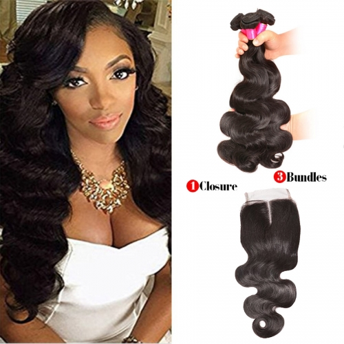 【Affordable 7A】3 Bundles Malaysian Body Wave Virgin Remy Human Hair Weft with Lace Closure