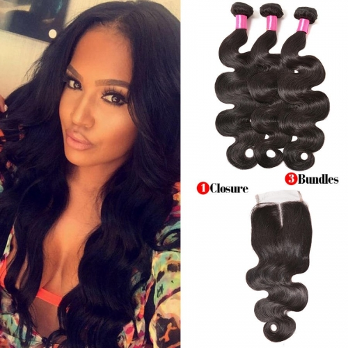 【Affordable 7A】3 Bundles Peruvian Body Wave Virgin Remy Human Hair Weft with Lace Closure