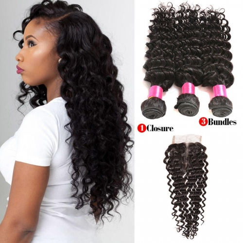 【Affordable 7A】3 Bundles Indian Deep Wave Virgin Remy Human Hair Weft with Lace Closure