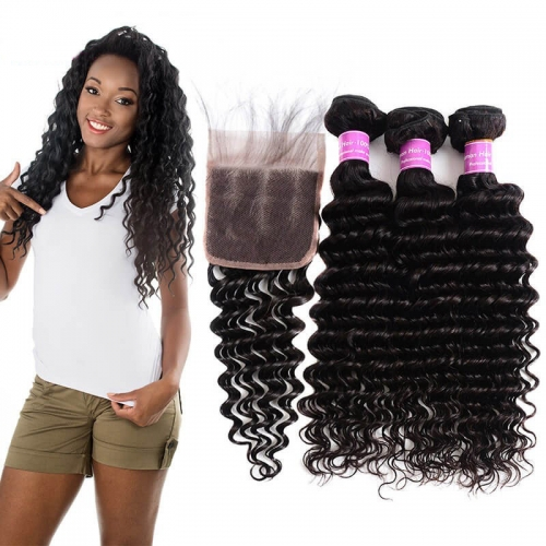 【Affordable 7A】3 Bundles Brazilian Deep Wave Virgin Remy Human Hair Weft with Lace Closure