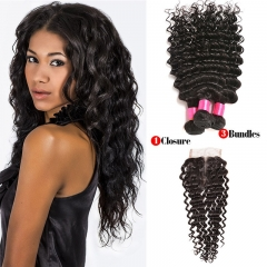 【Affordable 7A】3 Bundles Peruvian Deep Wave Virgin Remy Human Hair Weft with Lace Closure