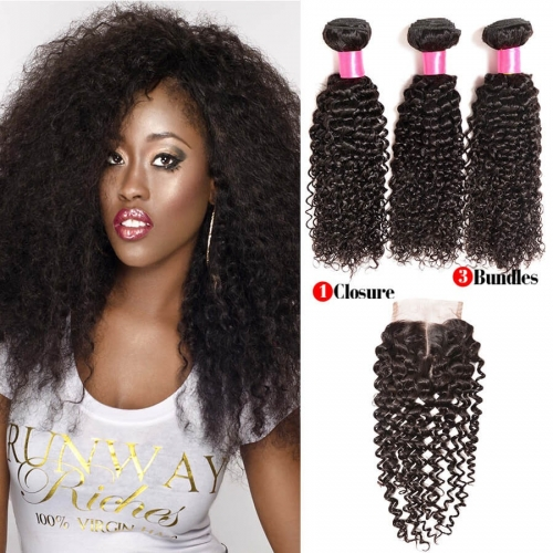 【Affordable 7A】3 Bundles Indian Kinky Curly Virgin Remy Human Hair Weft with Lace Closure