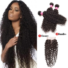 【Affordable 7A】3 Bundles Malaysian Kinky Curly Virgin Remy Human Hair Weft with Lace Closure