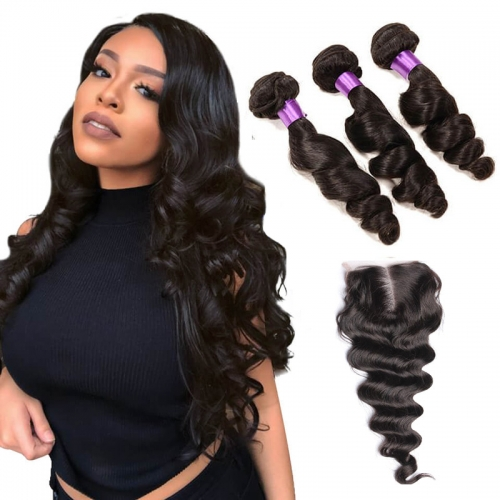 【Affordable 7A】3 Bundles Indian Loose Wave Virgin Remy Human Hair Weft with Lace Closure