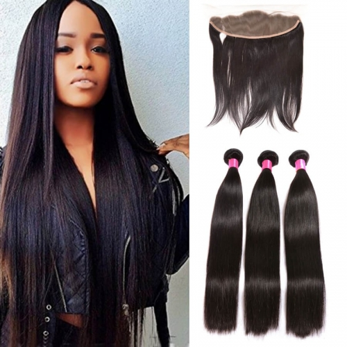 【Affordable 7A】3 Bundles Indian Silky Straight Virgin Remy Human Hair Weft with 4*13 Lace Frontal