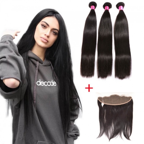 【Affordable 7A】3 Bundles Malaysian Silky Straight Virgin Remy Human Hair Weft with 4*13 Lace Frontal