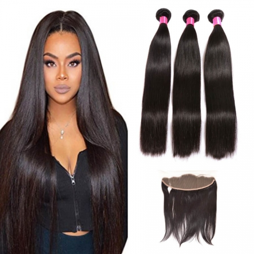 【Affordable 7A】3 Bundles Peruvian Silky Straight Virgin Remy Human Hair Weft with 4*13 Lace Frontal