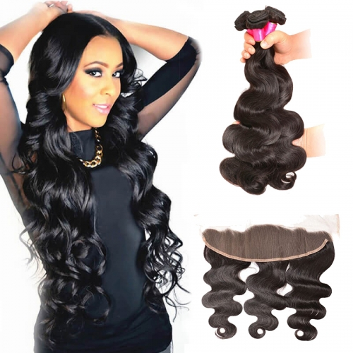 【Affordable 7A】3 Bundles Peruvian Body Wave Virgin Remy Human Hair Weft with 4*13 Lace Frontal