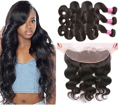【Affordable 7A】3 Bundles Malaysian Body Wave Virgin Remy Human Hair Weft with 4*13 Lace Frontal