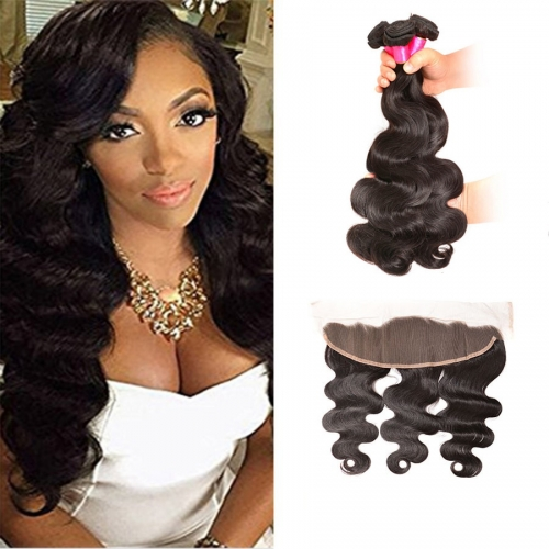 【Affordable 7A】3 Bundles Brazilian Body Wave Virgin Remy Human Hair Weft with 4*13 Lace Frontal