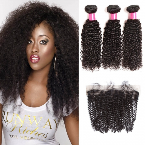 【Affordable 7A】3 Bundles Malaysian Kinky Curly Virgin Remy Human Hair Weft with 4*13 Lace Frontal