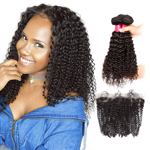 【Affordable 7A】3 Bundles Indian Kinky Curly Virgin Remy Human Hair Weft with 4*13 Lace Frontal