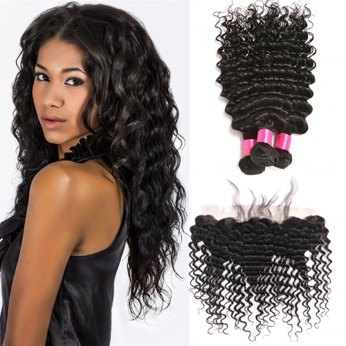 【Affordable 7A】3 Bundles Brazilian Deep Wave Virgin Remy Human Hair Weft with 4*13 Lace Frontal