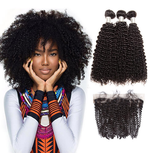 【Affordable 7A】3 Bundles Brazilian Kinky Curly Virgin Remy Human Hair Weft with 4*13 Lace Frontal