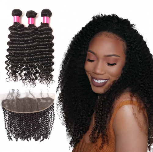 【Affordable 7A】3 Bundles Indian Deep Wave Virgin Remy Human Hair Weft with 4*13 Lace Frontal