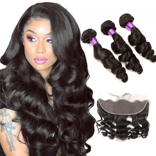 【Affordable 7A】3 Bundles Peruvian Loose Wave Virgin Remy Human Hair Weft with 4*13 Lace Frontal