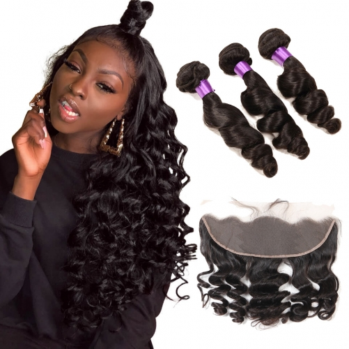 【Affordable 7A】3 Bundles Indian Loose Wave Virgin Remy Human Hair Weft with 4*13 Lace Frontal