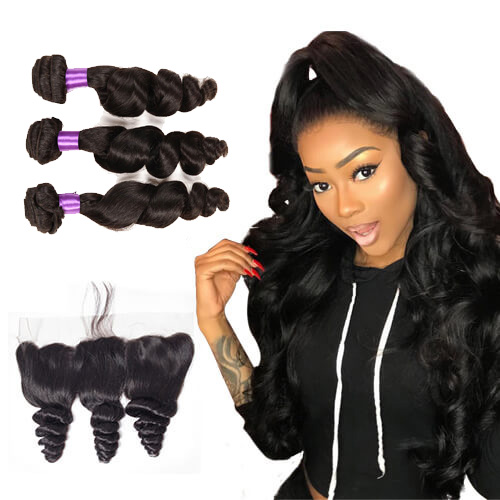 【Affordable 7A】3 Bundles Malaysian Loose Wave Virgin Remy Human Hair Weft with 4*13 Lace Frontal