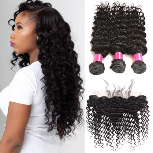 【Affordable 7A】3 Bundles Malaysian Deep Wave Virgin Remy Human Hair Weft with 4*13 Lace Frontal