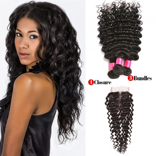 3 Bundles Deep Wave Virgin Remy Human Hair Weft with Lace Closure