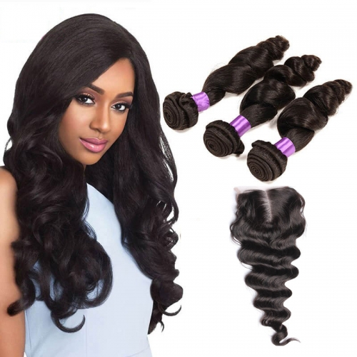 3 Bundles Loose Wave Virgin Remy Human Hair Weft with Lace Closure