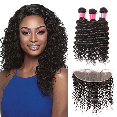 3 Bundles Deep Wave Virgin Remy Human Hair Weft with 4*13 Lace Frontal