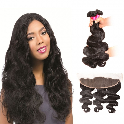 3 Bundles Indian Body Wave Virgin Remy Human Hair Weft with 4*13 Lace Frontal