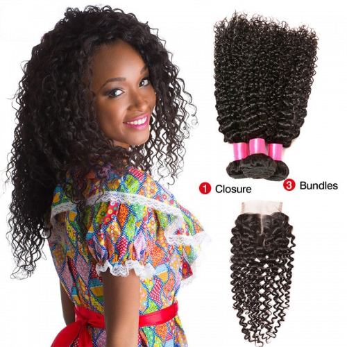 3 Bundles Kinky Curly Virgin Remy Human Hair Weft with Lace Closure