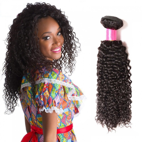 8''-28'' Single 1 Bundle Kinky Curly Virgin Remy Human Hair Unprocessed Weft Natural Color