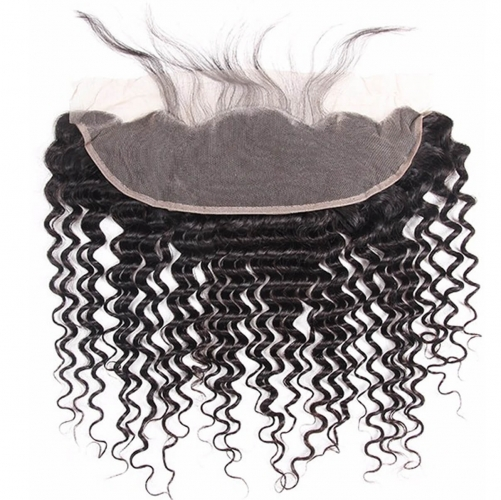 4*13 Deep Wave Virgin Remy Human Hair Ear to Ear Lace Closure Frontal