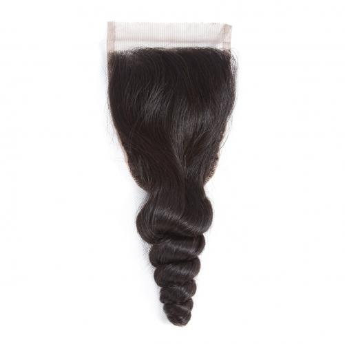 4*4 Loose Wave Virgin Remy Human Hair Silk Base Top Lace Closure