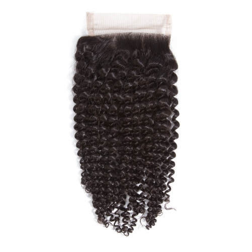 4*4 Kinky Curly Virgin Remy Human Hair Silk Base Top Lace Closure