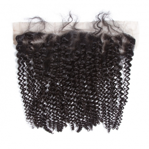 4*13 Kinky Curly Virgin Remy Human Hair Ear to Ear Lace Closure Frontal
